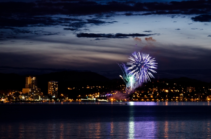 Fireworks in Downtown Nanaimo as seen from Jack Point | Credit: Sean Helmn