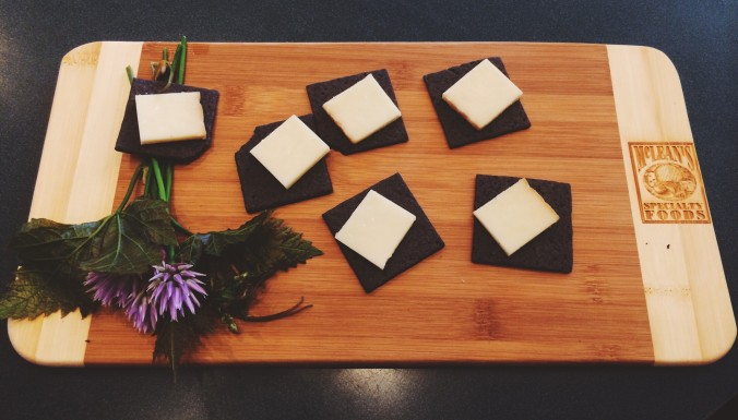 Applewood Smoked Cheddar served on Charcoal Crackers | Credit: Sean Helmn
