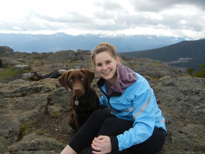 Kara, and her pup Benson, on the summit of Mount Benson!